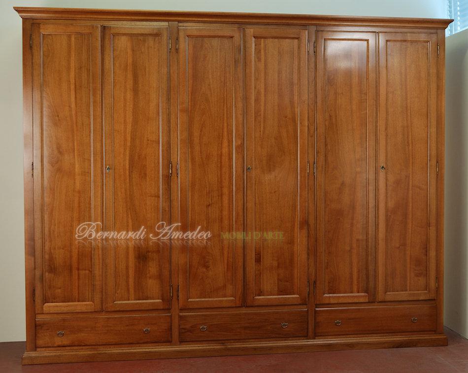 Armadio guardaroba classico in legno massello con 6 ante ...