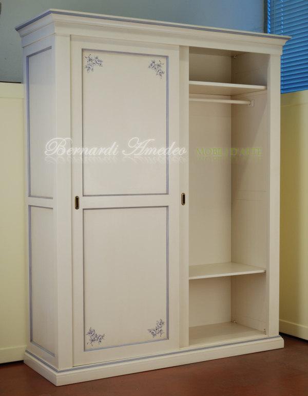 Cameretta laccata avorio con decori camere complete - Armadio con porte scorrevoli ...