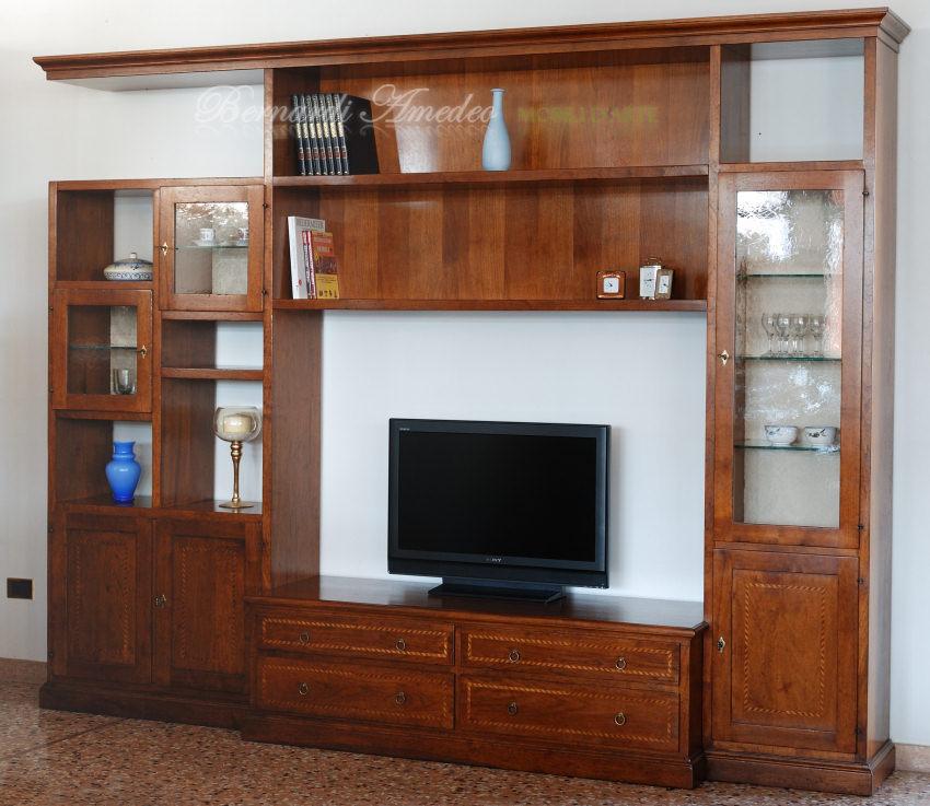 Parete porta tv in noce massello componibili - Mobile parete porta tv ...