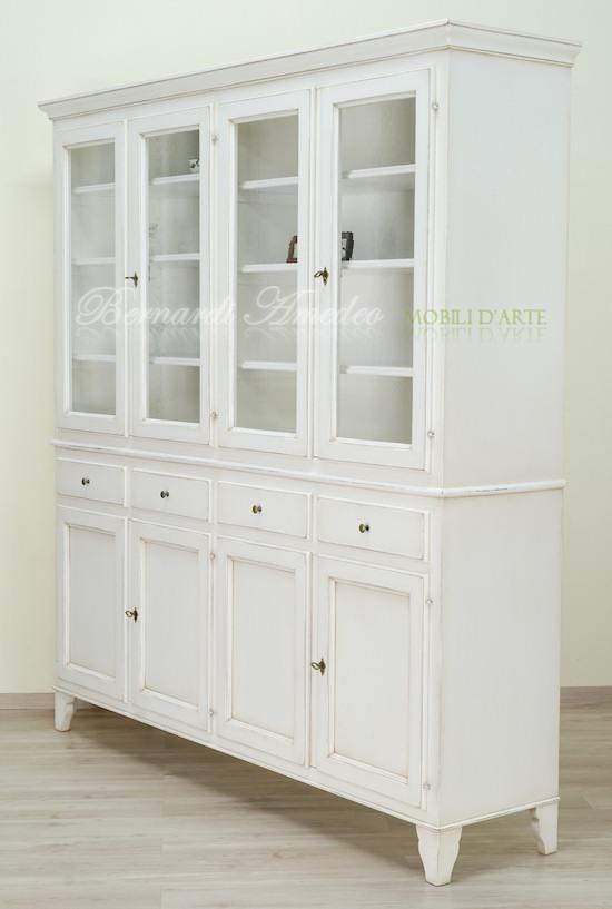 Credenza country con vetrina bianco avorio ultimi mobili for Credenza cucina mondo convenienza