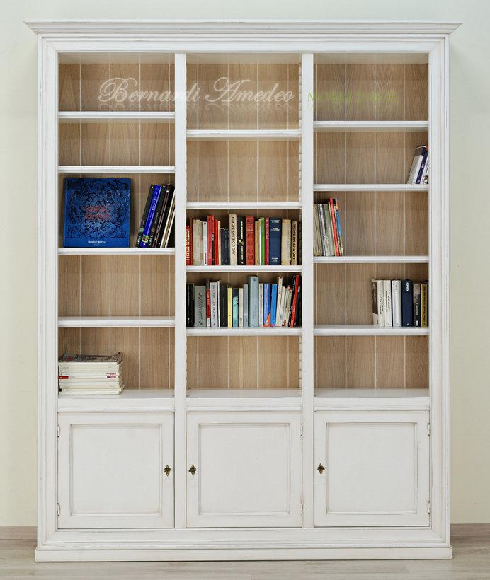 Libreria shabby chic L 106 H 204 P 47 laccata e dacapata colori a ...