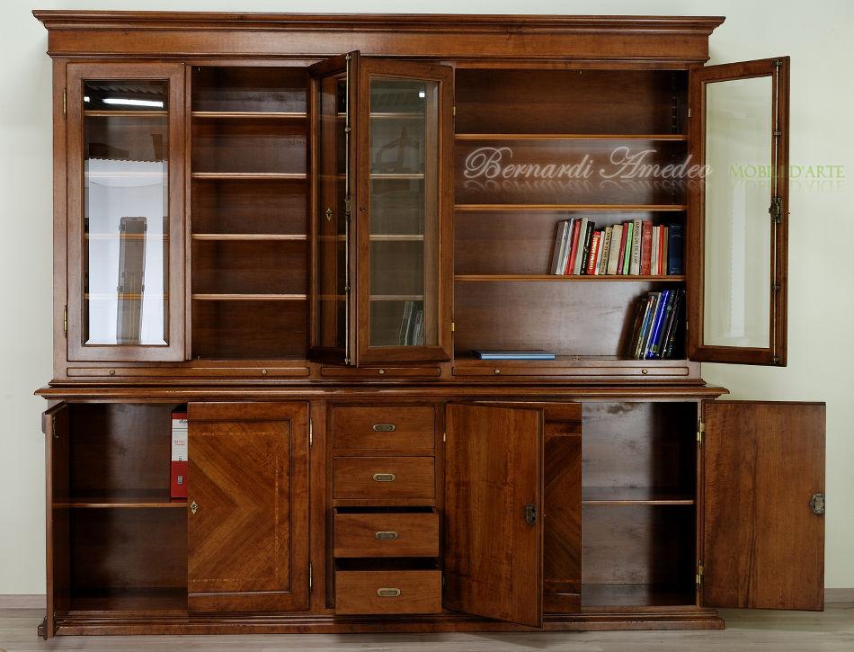 Libreria Classica In Noce Massello Base E Alzata Ultimi Mobili