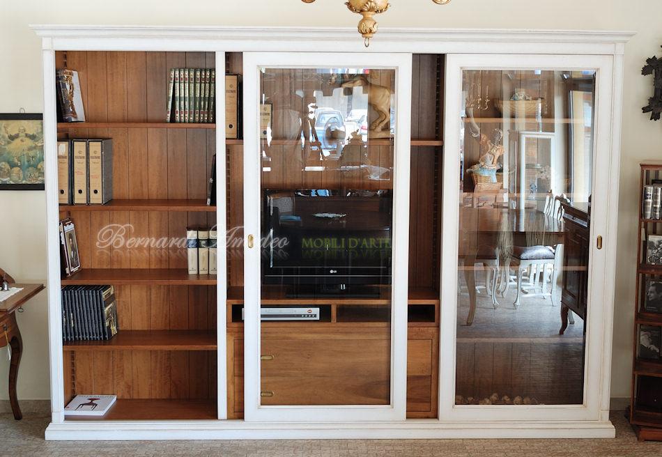 LB65 - Libreria porta Tv con 2 ante scorrevoli a vetro, laccata e ...