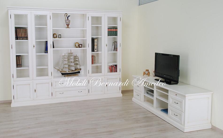 LB87/L - Libreria in legno massello laccata bianco anticato, 280x230h.