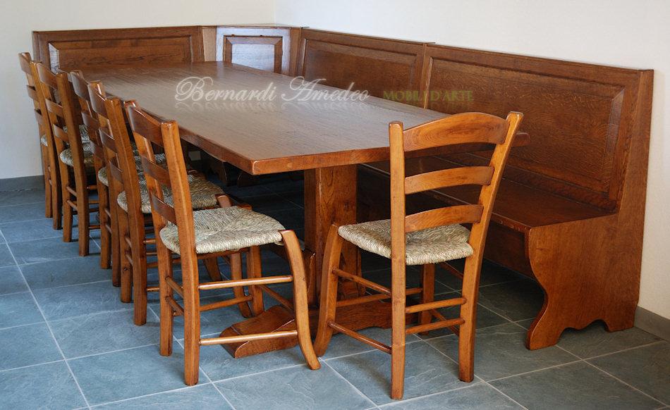 Tavolo fratino in legno massello di rovere , spessore coperchio 5 cm ...