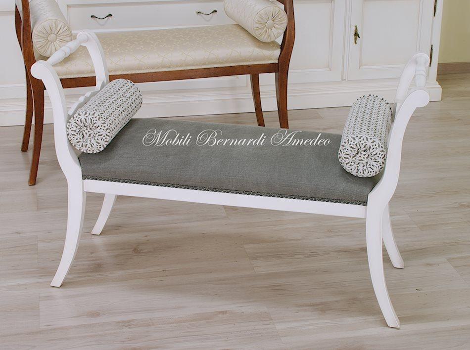 SE90/LS - Panchetta con seduta imbottita, finitura bianco anticato