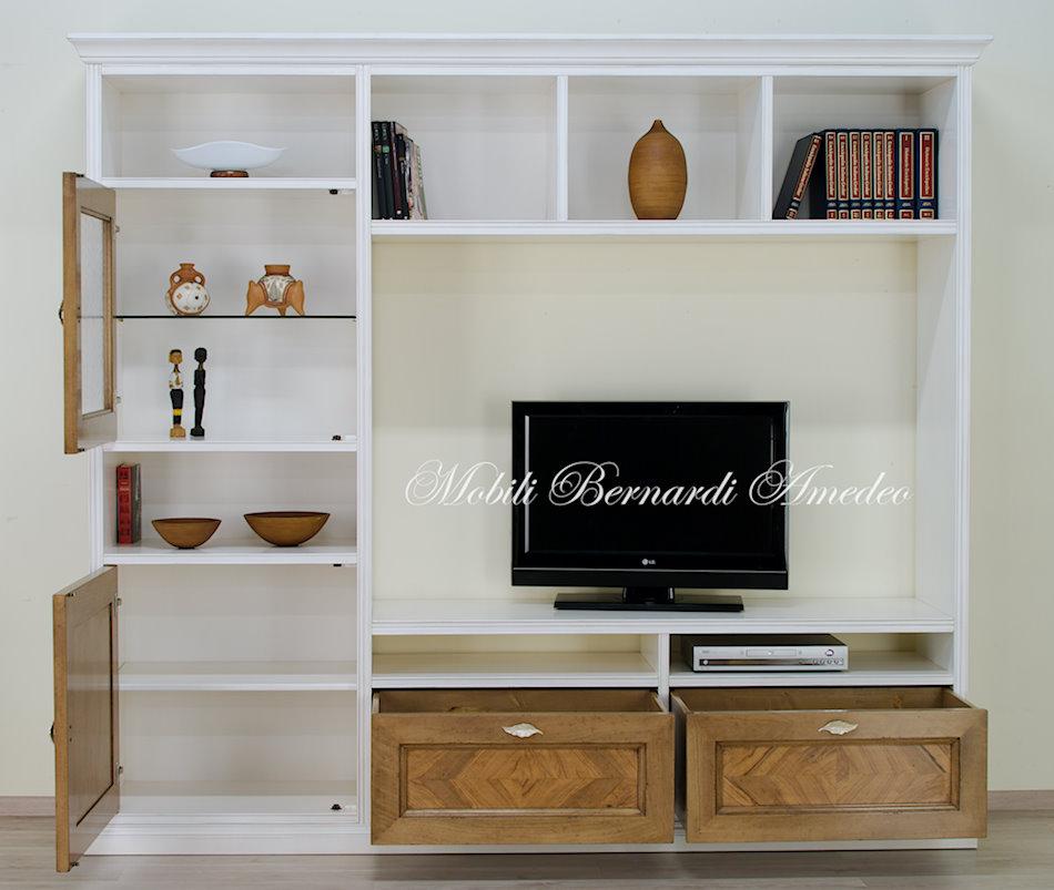 Parete porta tv finitura bianco e noce intarsiato - Olio per mobili antichi ...