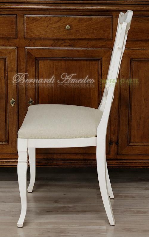SE53/L - Sedia con schienale lavorato, seduta imbottita, laccatura ...
