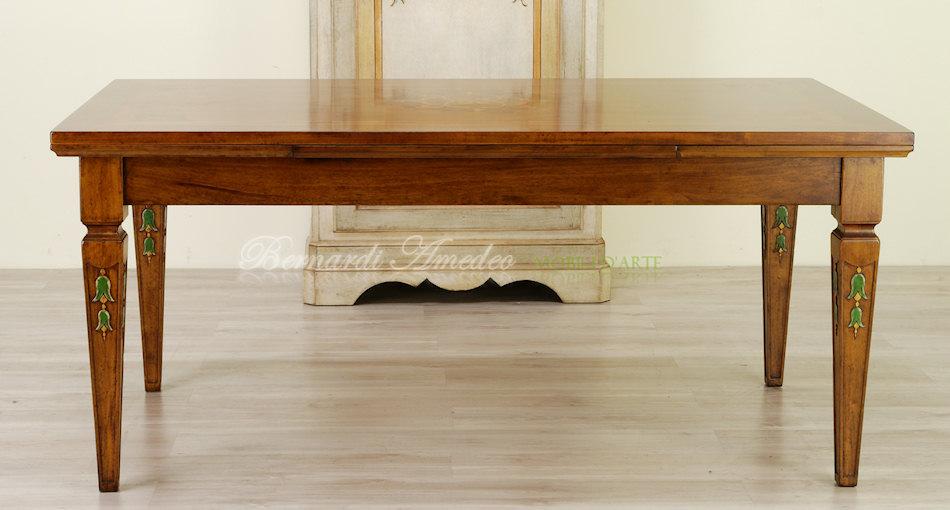 tavolini tv estraibili : TA38 - Tavolo rettangolare allungabile in noce con intarsi e gambe ...