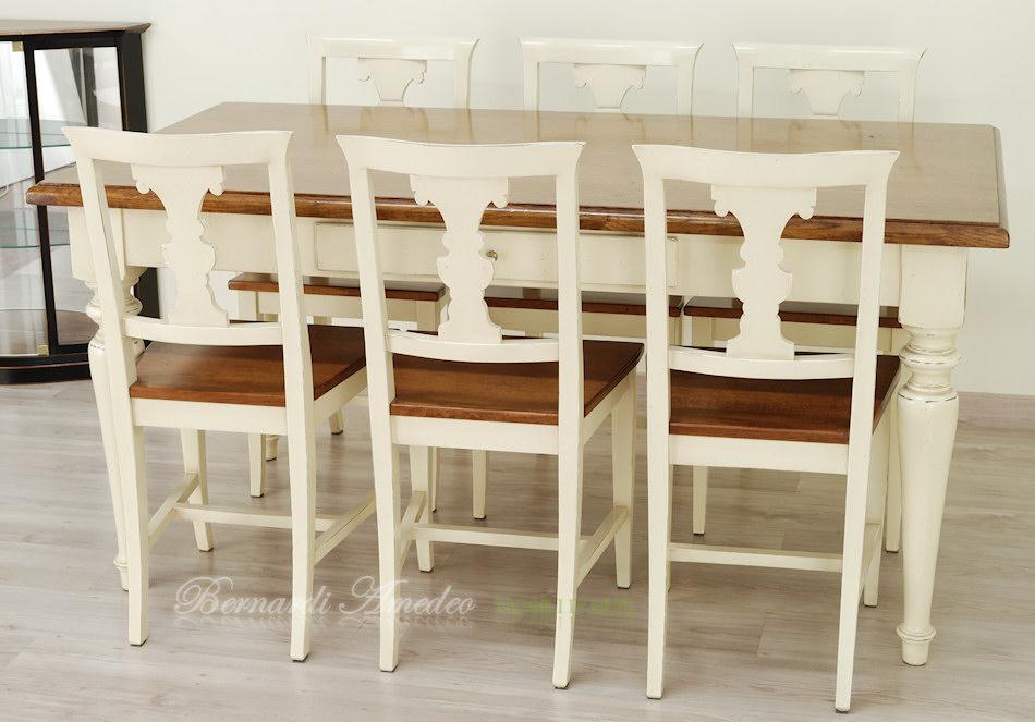 Tavoli country da cucina in legno massello tavoli - Sedie di legno per cucina ...