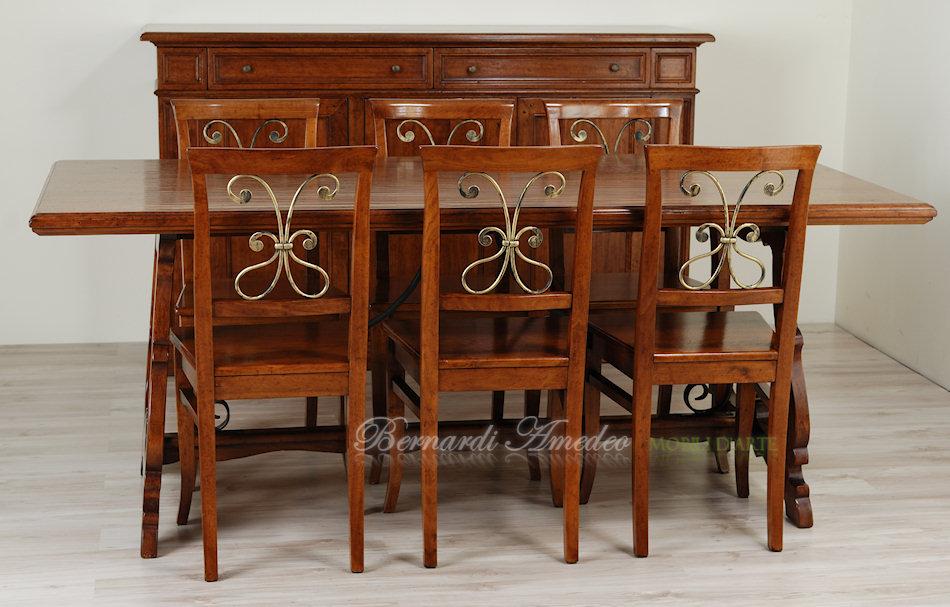 Tavolo in legno massello di noce con ferro battuto 200x90 cm
