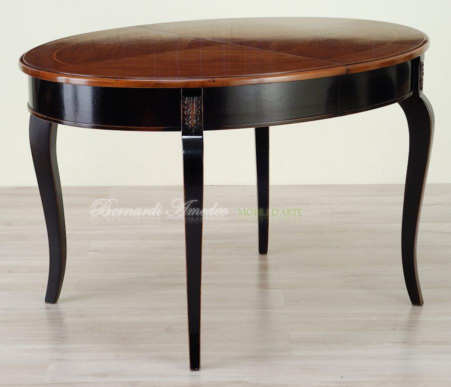 Tavoli rotondi e ovali allungabili 3 tavoli for Tavolo nero allungabile