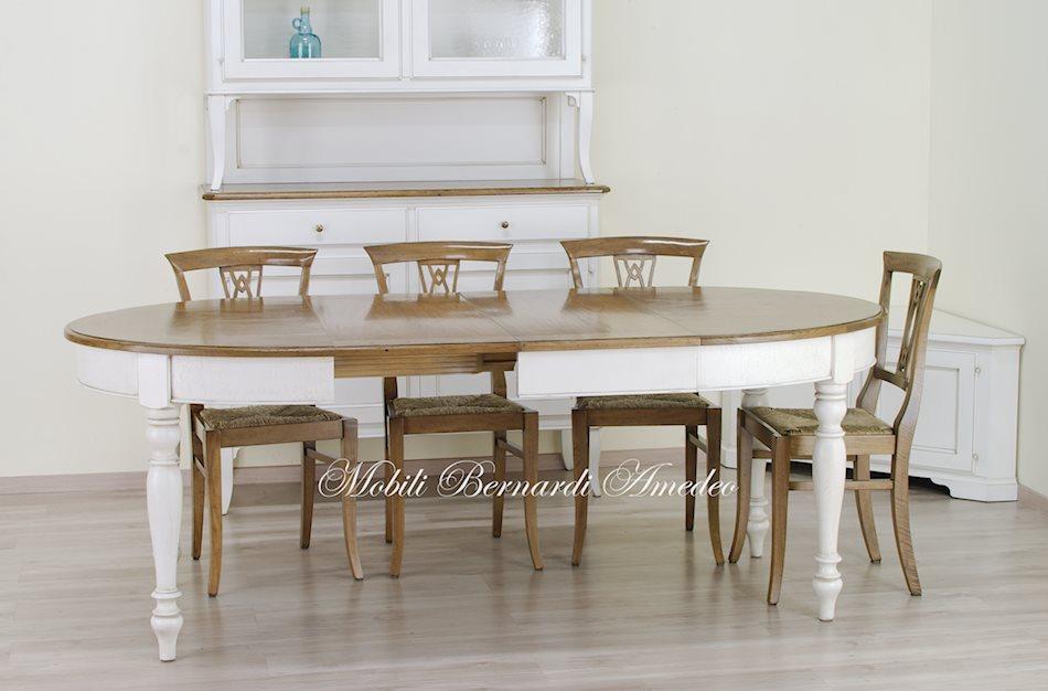 Tavolo ovale e credenza finitura bianco anticato ultimi - Tavolo ovale cucina ...