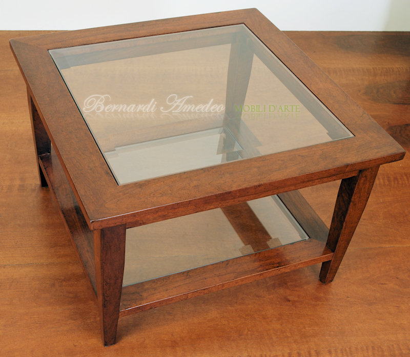 TT23 - Tavolino da salotto in noce massello con doppio ripiano con ...