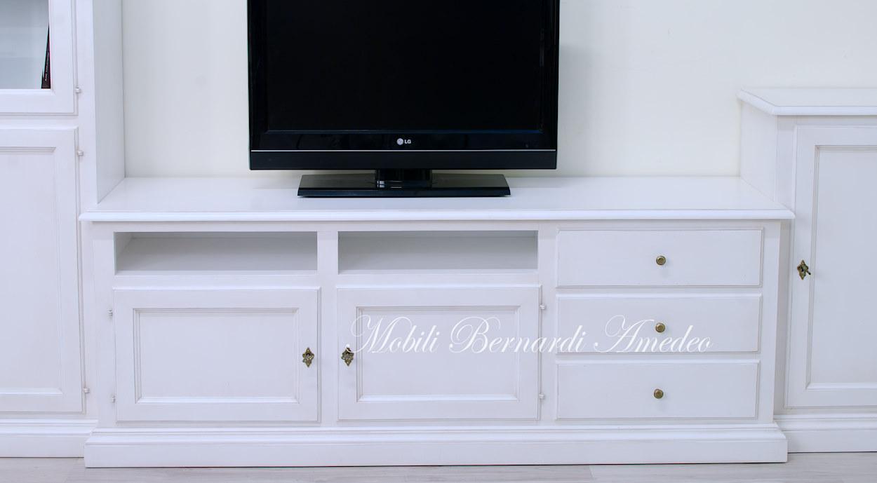 Porta Tv Legno Classico.Mobile A Parete Con Porta Tv Componibili