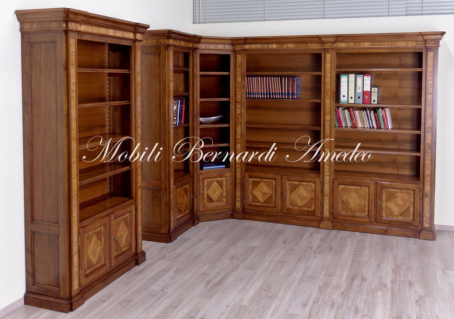 Mobile Libreria Ad Angolo.Librerie In Noce Intarsiato 2 Librerie