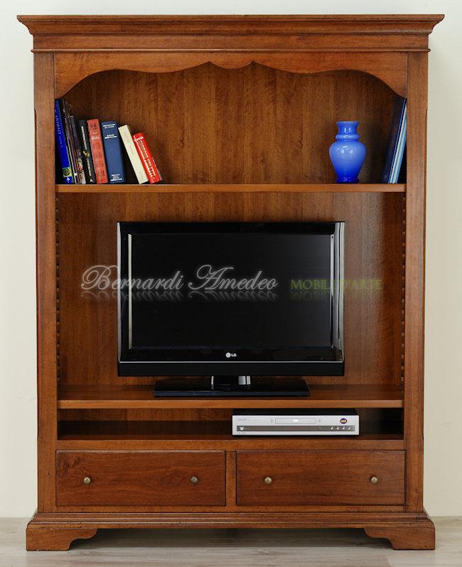 Porta tv in noce massello 3 porta tv - Libreria mobile tv ...