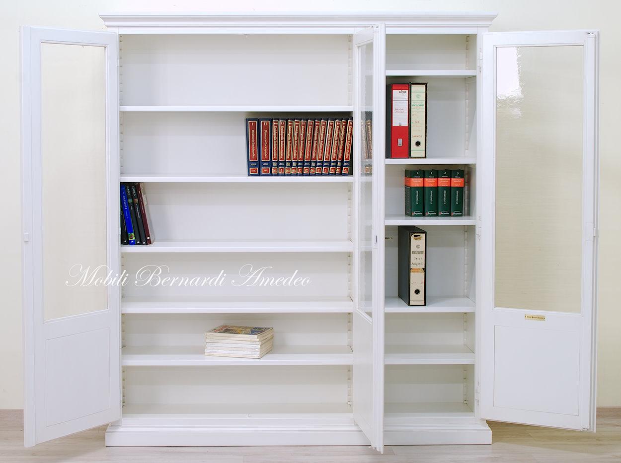 Libreria Bianca Con Ante In Vetro.Librerie In Legno Massello 14 Librerie