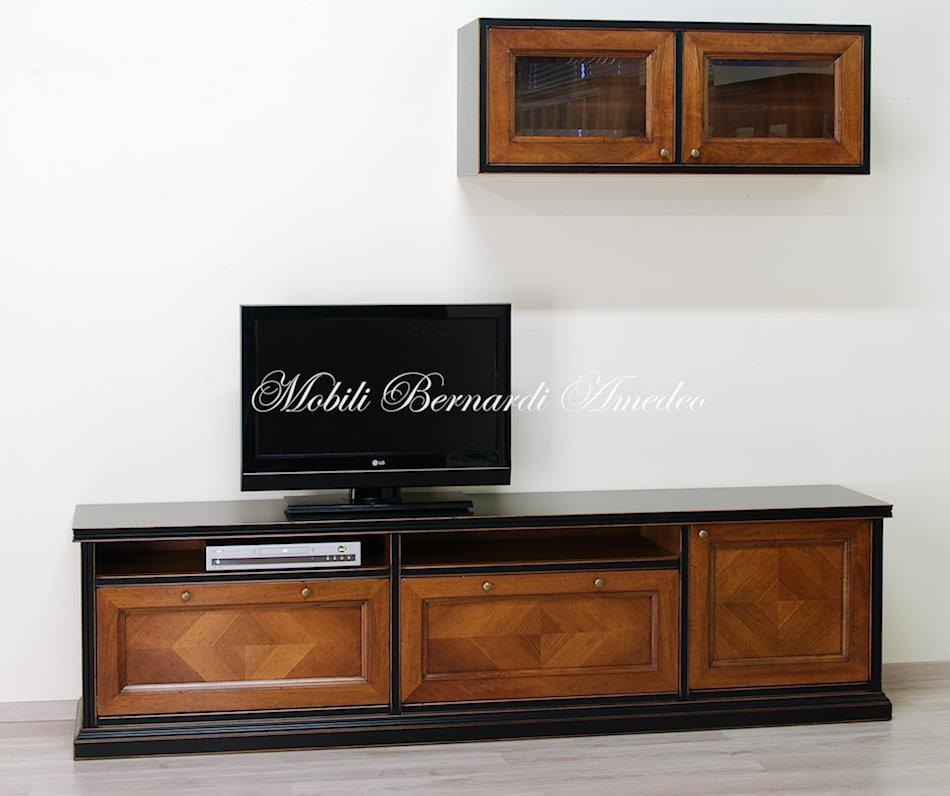 PA52 - Parete attrezzata in legno massello finitura bicolore nero e ...