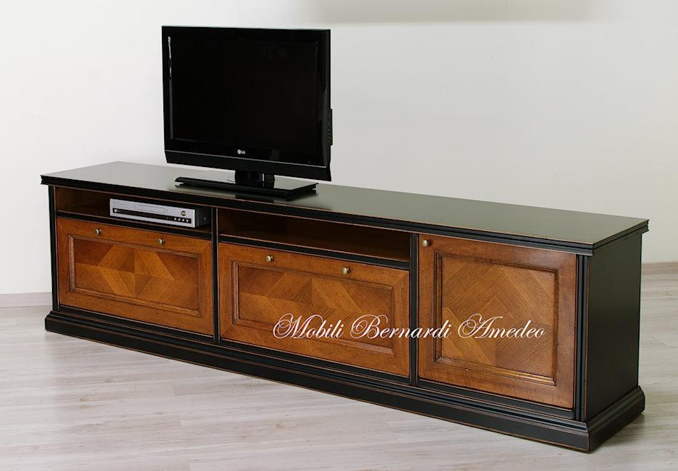 Mobile tv in legno massello base e pensile componibili - Mobile porta tv da parete ...