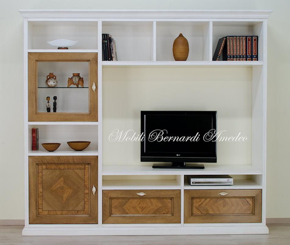 Parete porta Tv finitura bianco e noce intarsiato | Componibili