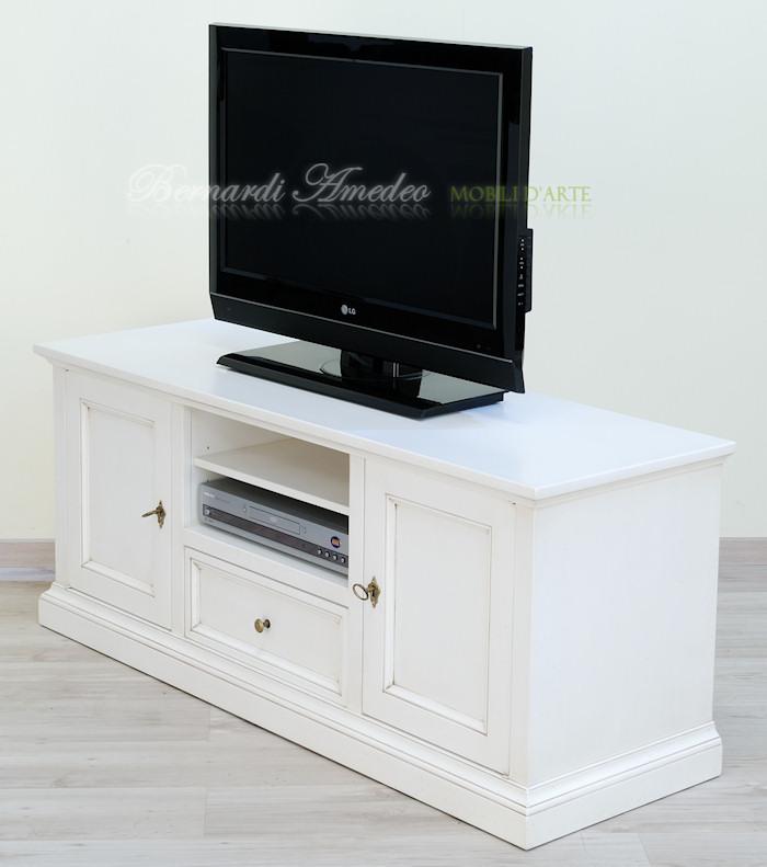 Porta tv in legno laccati 2 porta tv for Mobili legno bianco anticato