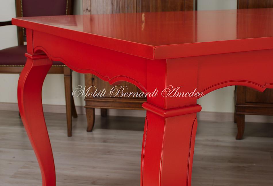 Tavolo Rosso Legno.Tavoli Allungabili Laccati Colorati Tavoli