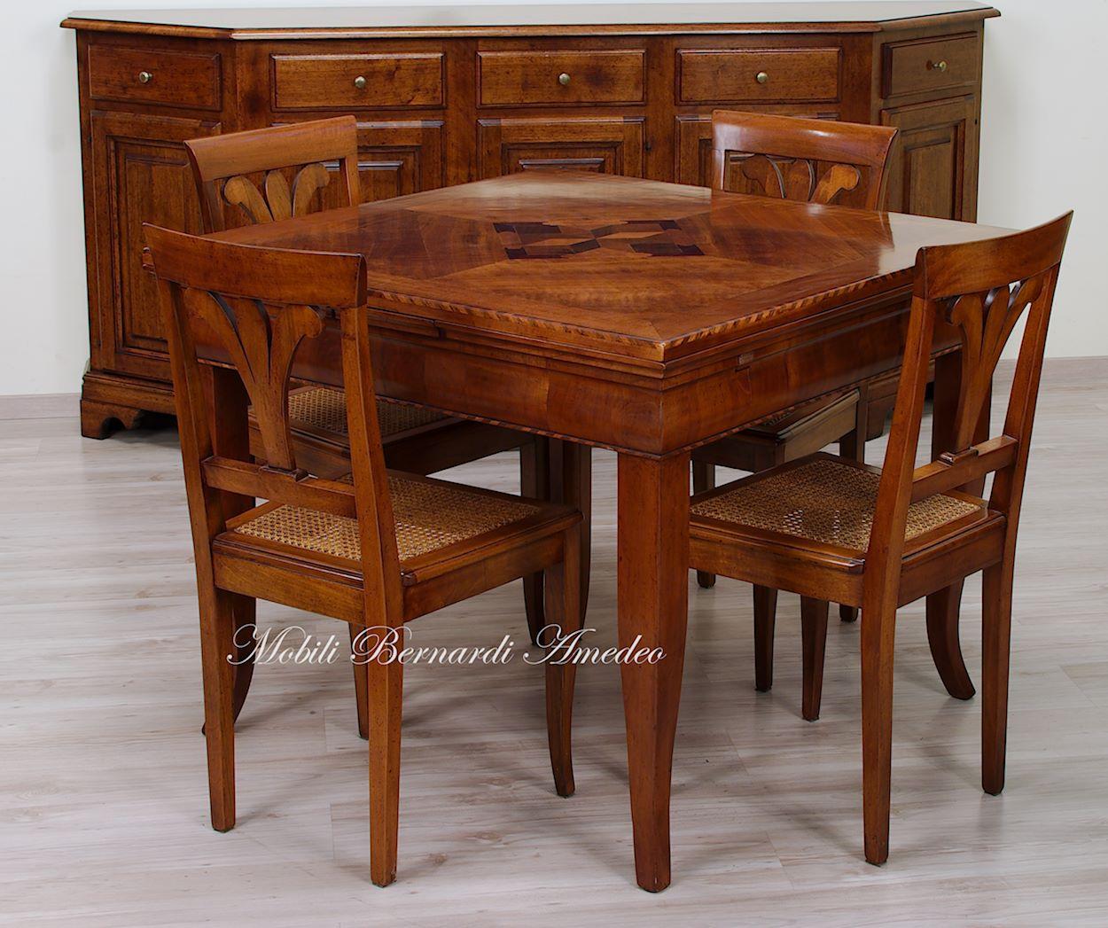 tavolini tv estraibili : TA06 - Tavolo quadrato in ciliegio con sedie in stile