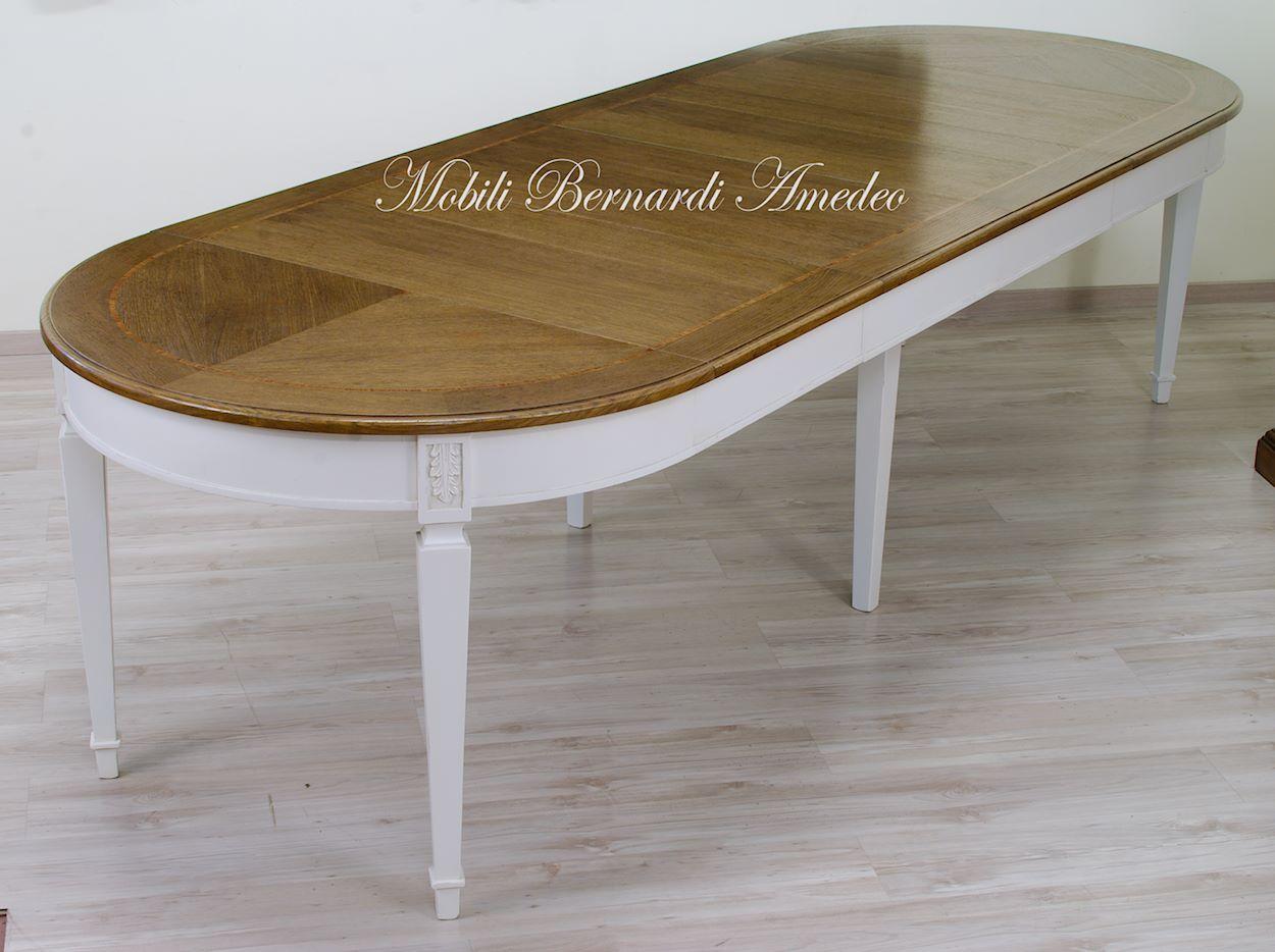 Tavolo tondo in legno e piano in mdf bianco cm bovio beliani