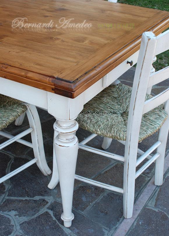 TA53 - Tavolo allungabile in legno massello stile country, gambe ...