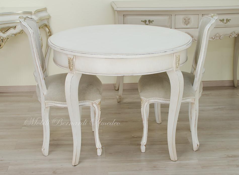 Tavolo Legno Bianco Anticato.Tavoli Ovali E Rotondi Non Allungabili Tavoli